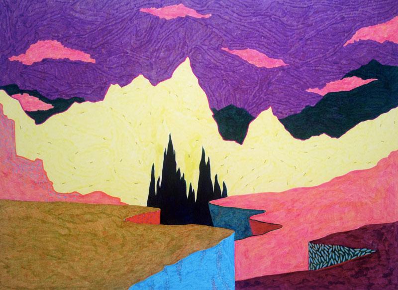 Sudalgie Le massif, 2012. Feutre sur papier. 65 × 50 cm