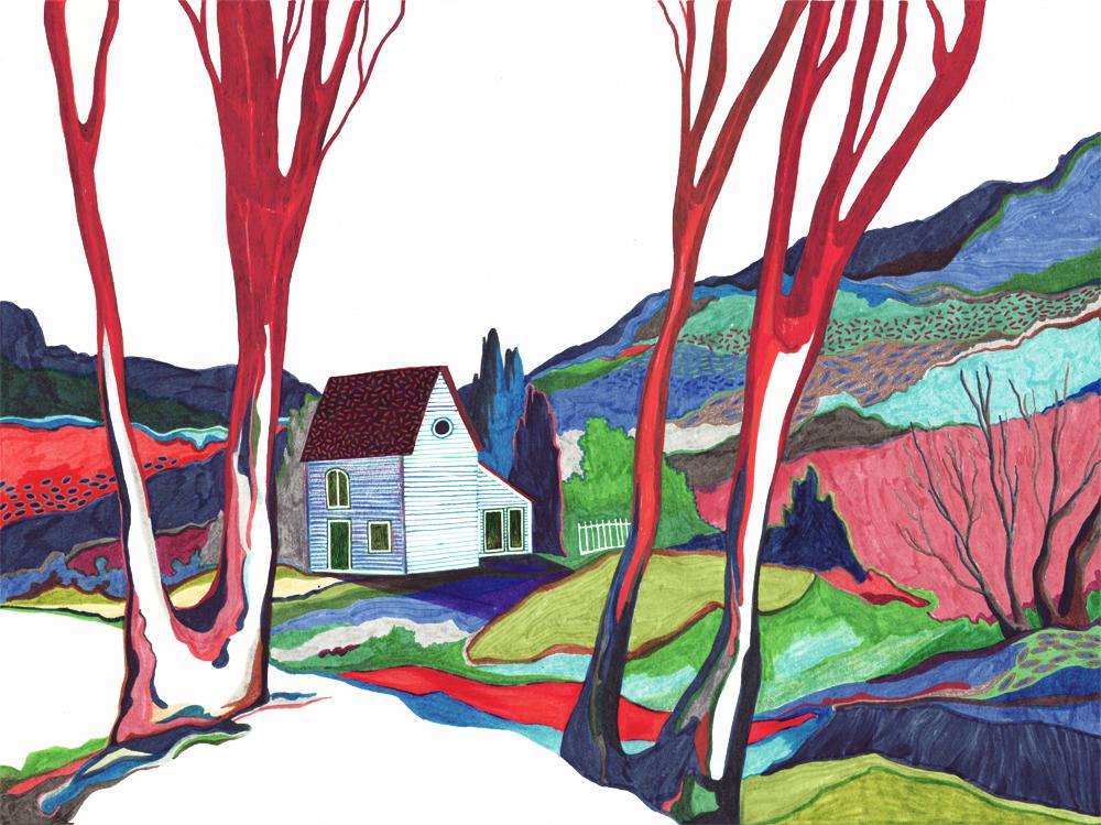 Sudalgie La maison, 2012. Feutre sur papier. 35  38 cm