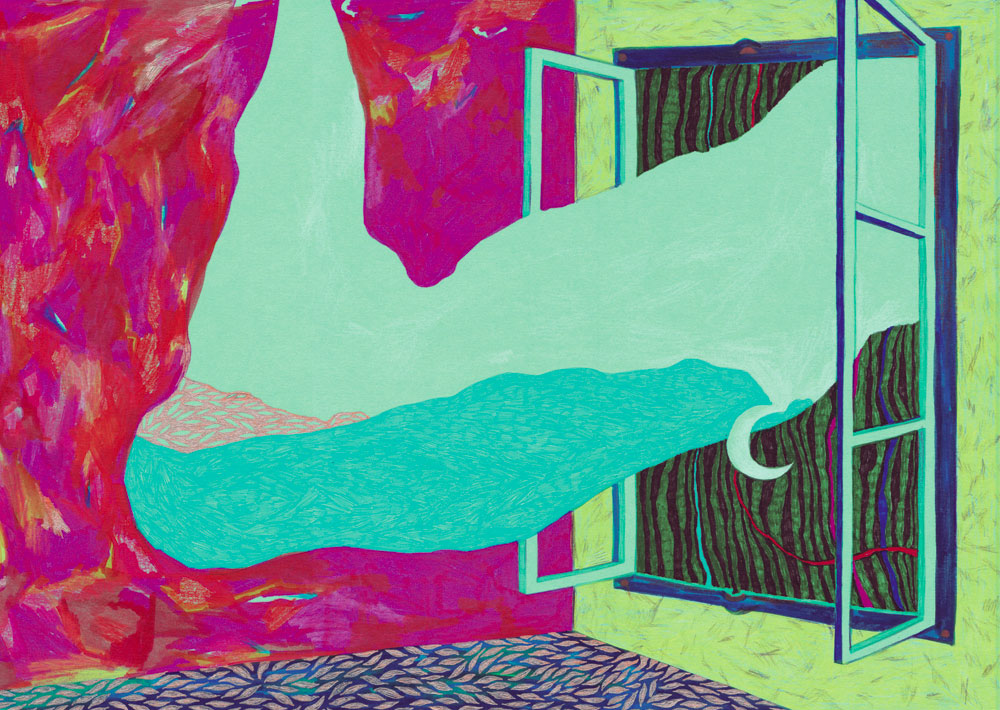 Sudalgie Intérieur / nuit, 2013. Feutre sur papier. 30 × 22 cm