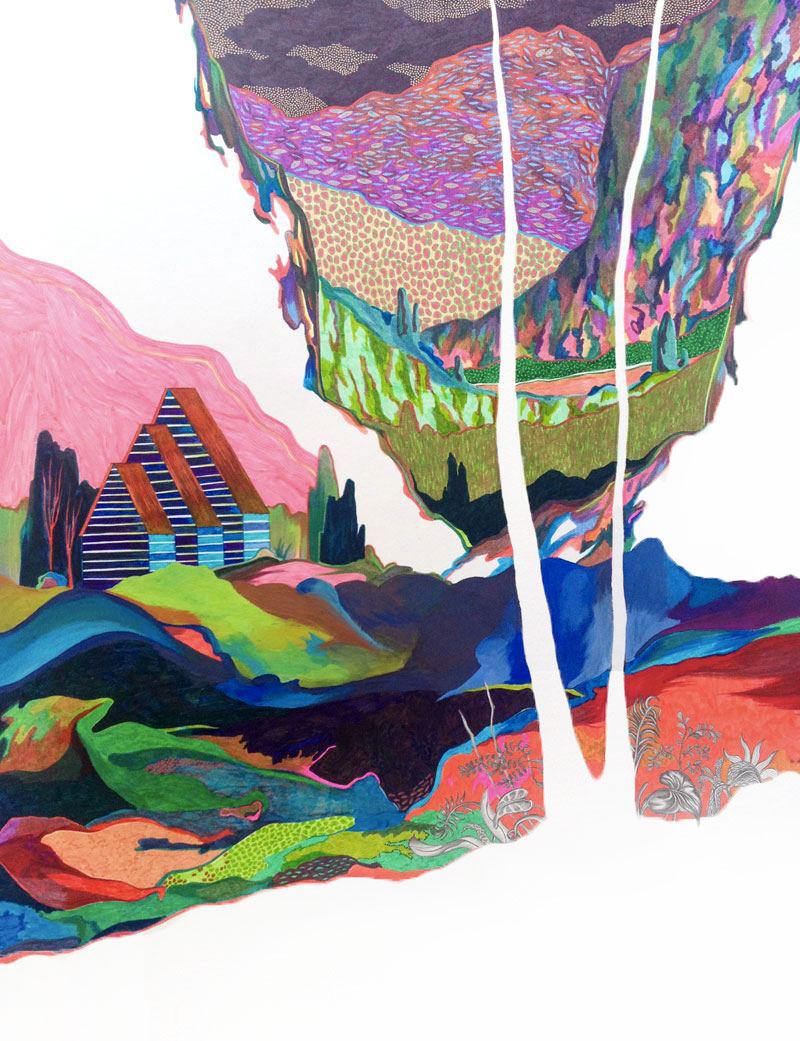 Sudalgie Les maisons mangeuses, 2012. Feutre et gouache sur papier. 50 × 65 cm