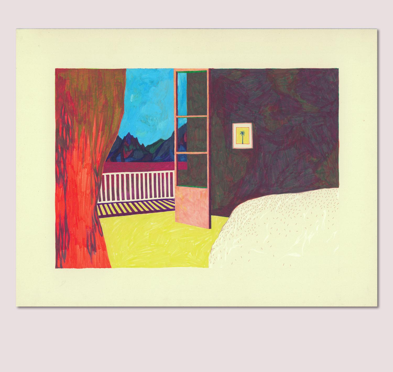 Sudalgie La chambre au palmier. Peinture sur carton. 2013. 65 × 50 cm