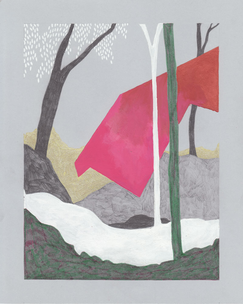 Grottes Arbre rose, 2013. Gouache et feutre sur papier de couleur. 19 × 27 cm