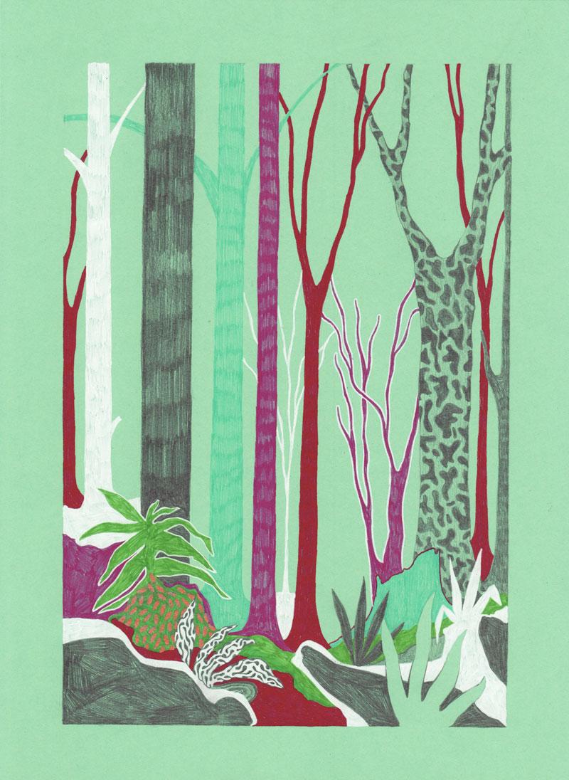 Grottes Forêt, 2013. Feutre sur papier de couleur. 20 × 29 cm