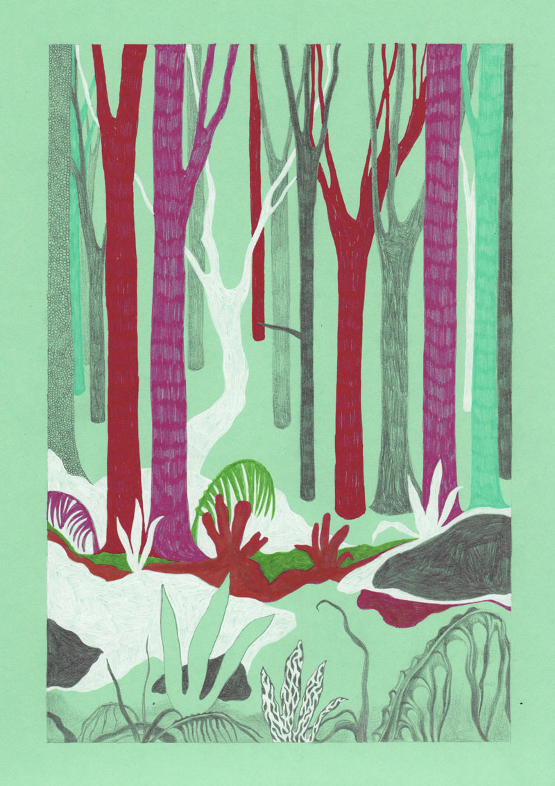 Grottes Sous-bois, 2013. Feutre sur papier de couleur. 20 × 29 cm