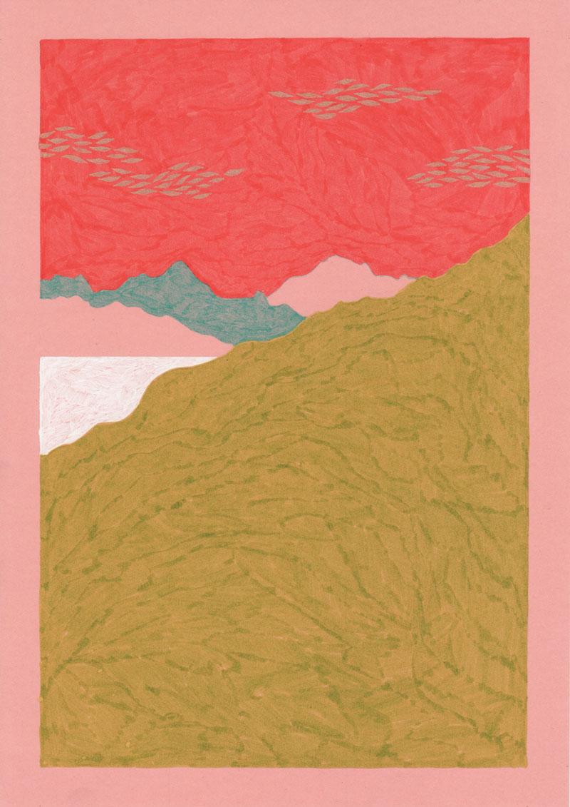 Grottes Le lac, 2013. Feutre sur papier de couleur. 21 × 29,7 cm