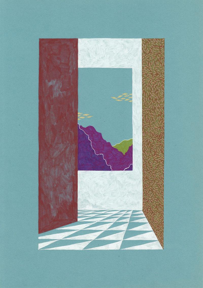 Grottes À l\'intérieur, 2013. Feutre et stylo sur papier de couleur. 19,5 × 29 cm