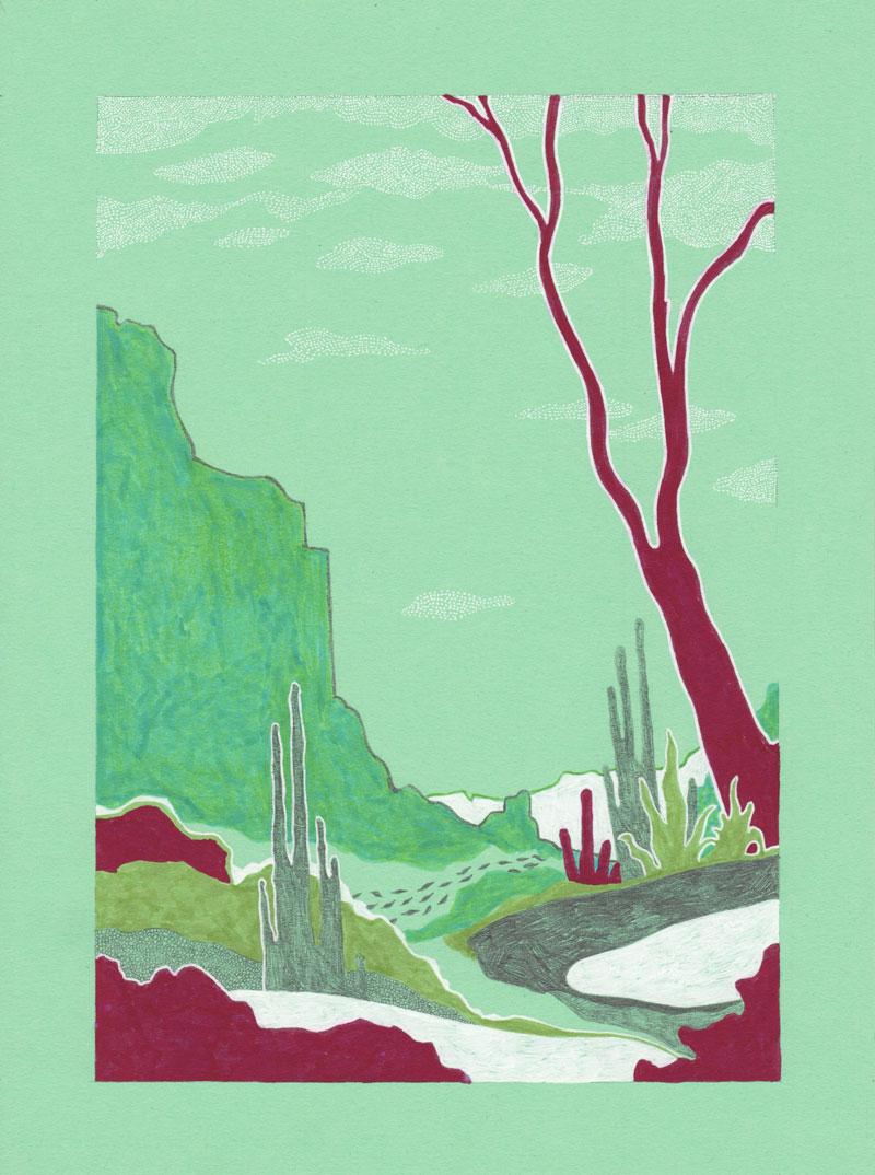 Grottes Micocoulier, 2013. Feutre sur papier de couleur. 18 × 25 cm