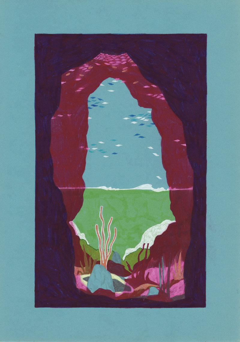 Grottes Grotte Cosquer, 2013. Feutre sur papier de couleur. 17 × 27 cm
