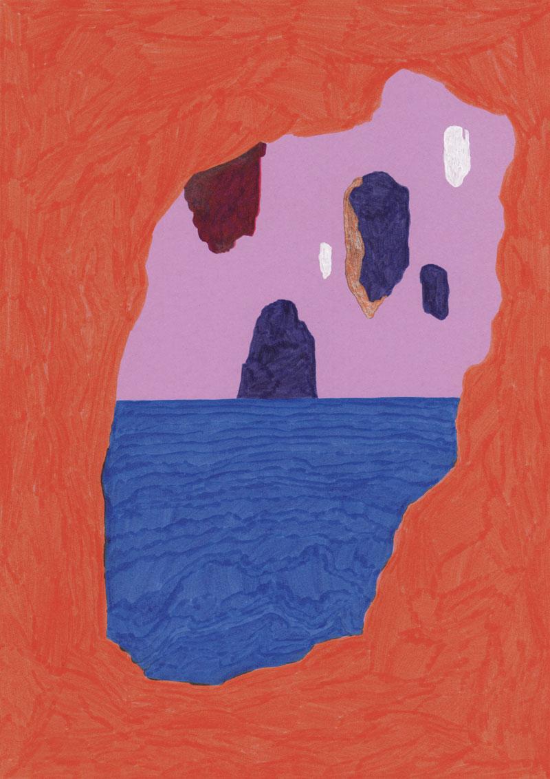 Grottes La grottes des voleurs, 2013. Feutre et stylo sur papier de couleur. 21 × 29 cm