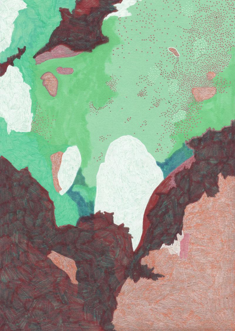 Grottes Les grottes, 2013. Feutre sur papier de couleur. 21 × 30 cm