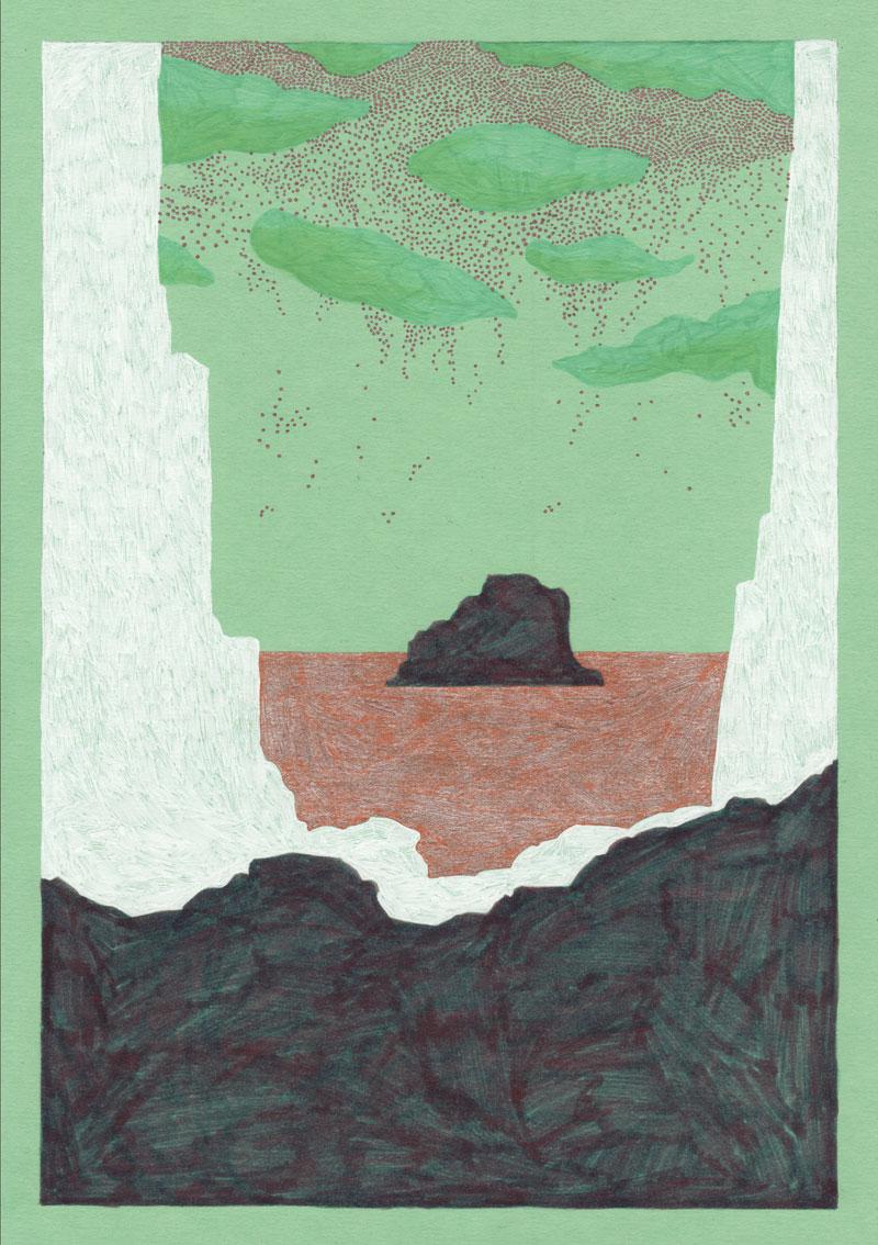 Grottes If, 2013. Feutre sur papier de couleur. 20 × 29 cm
