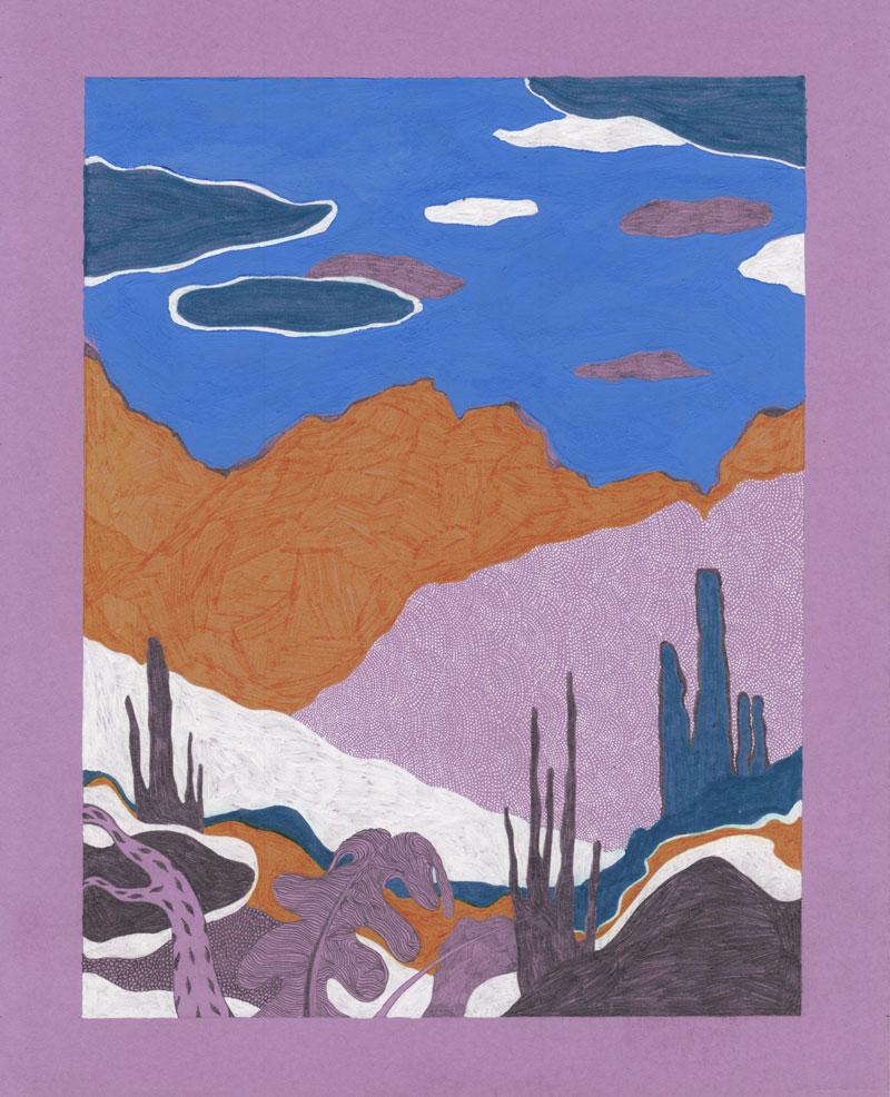 Grottes Cactus, 2013. Gouache et feutre sur papier de couleur. 18 × 29 cm