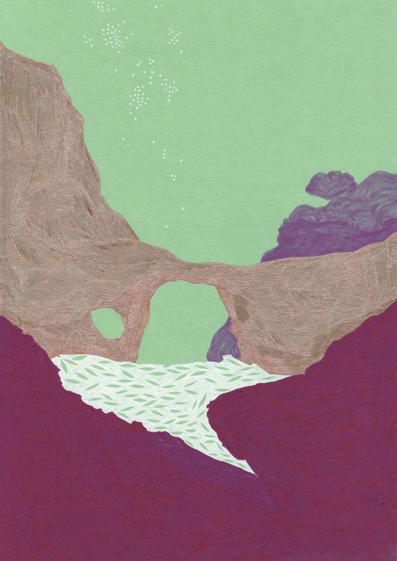 Grottes Gouffre, 2013. Feutre sur papier de couleur. 20 × 29 cm