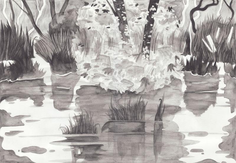 Waterloo Suite Le jarret (forêt galerie), 2014. Aquarelle. 42 ×  29 cm