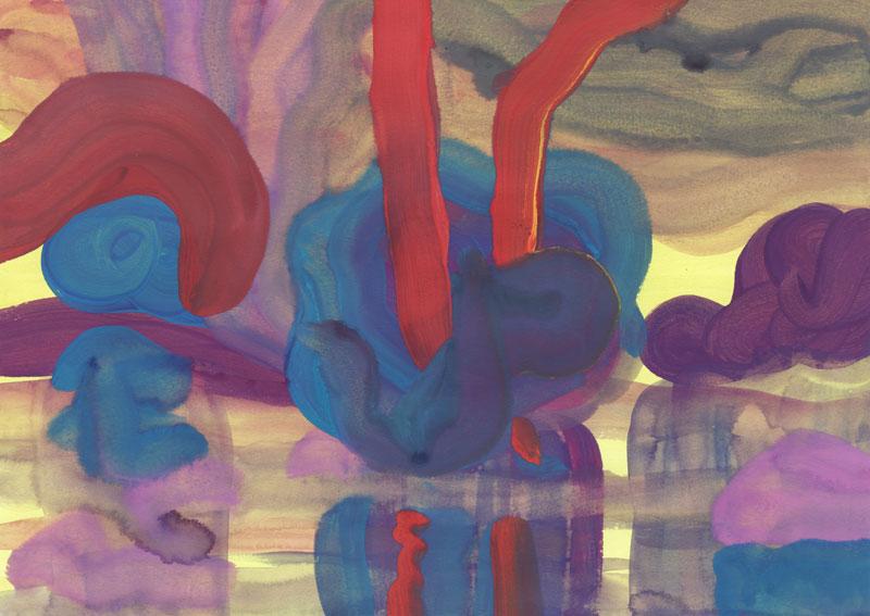 Colline Le jarret (forêt galerie), 2014. Gouache sur papier. 29 × 42 cm
