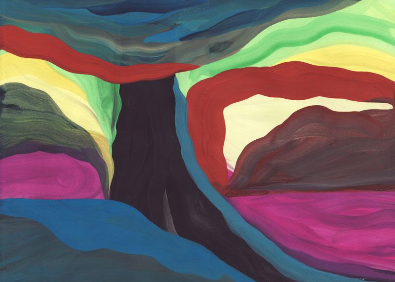 Colline Youpi, 2014. Gouache sur papier. 29 × 42 cm