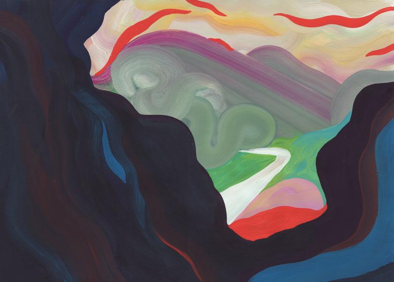 Colline Le Collet-Redon, 2014. Gouache sur papier. 29 × 42 cm