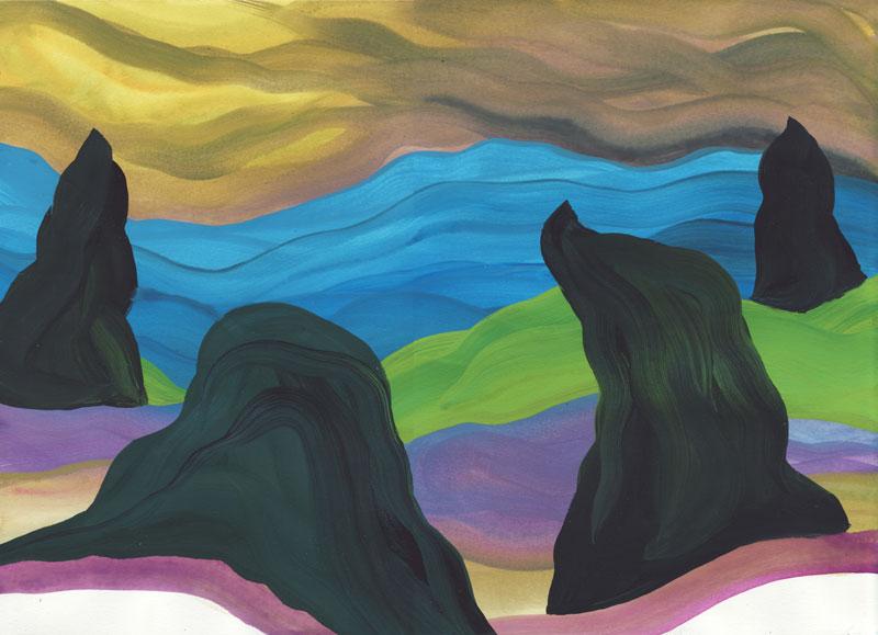 Colline Les enfants-monstres, 2014. Gouache sur papier. 29 × 42 cm