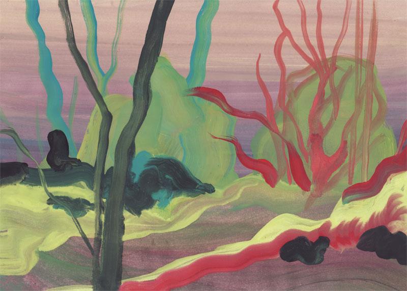 Colline Valdonne, 2014. Gouache sur papier. 21 × 29,7 cm