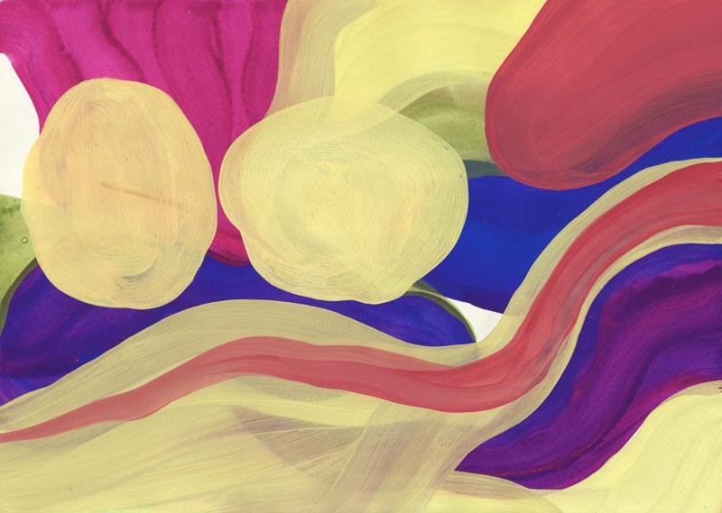 Colline Boules, 2014. Gouache sur papier. 29 × 42 cm
