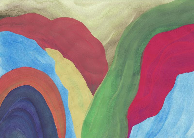 Colline Dolomies molles, 2014. Gouache sur papier. 21 × 29,7 cm