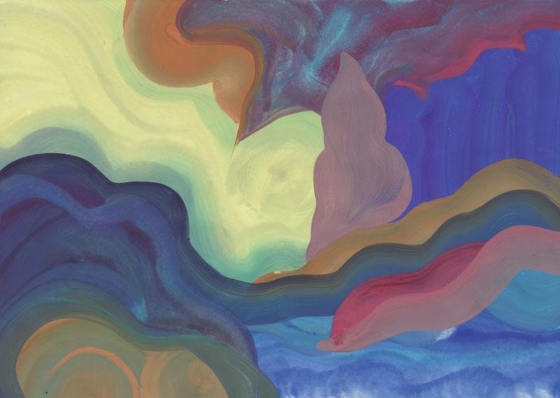 Colline Le matin, 2014. Gouache sur papier. 21 × 29,7 cm