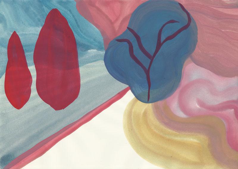 Colline Le chemin d\'en bas, 2014. Gouache sur papier. 21 × 29,7 cm