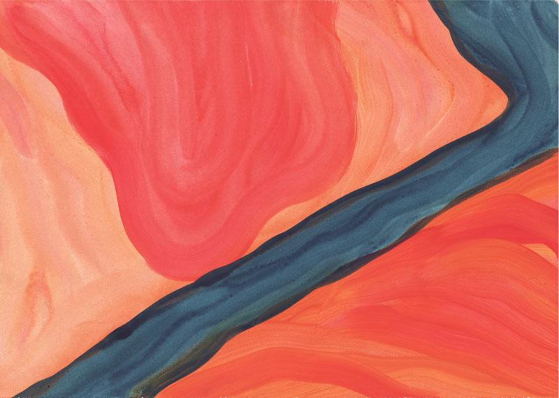 Colline Le jarret, 2014. Gouache sur papier. 29 × 42 cm