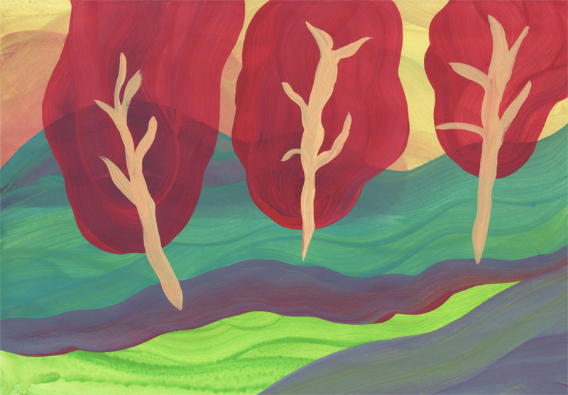 Colline Arbres, 2014. Gouache sur papier. 21 × 29,7 cm