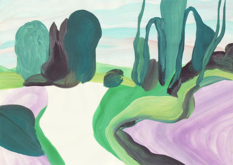 Colline Chemin d\'en haut, 2014. Gouache sur papier. 21 × 29,7 cm