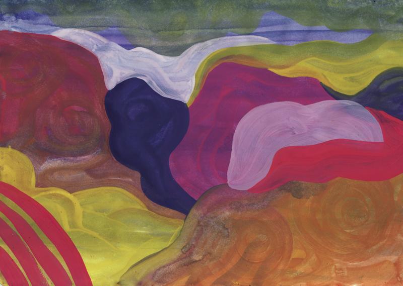 Colline Chemin de Pic, 2014. Gouache sur papier. 21 × 29,7 cm