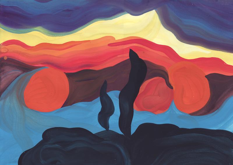 Colline Les cyprès, 2014. Gouache sur papier. 29 × 42 cm