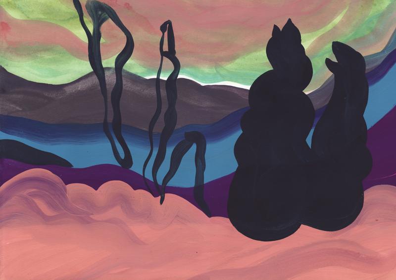 Colline Monstres, 2014. Gouache sur papier. 29 × 42 cm