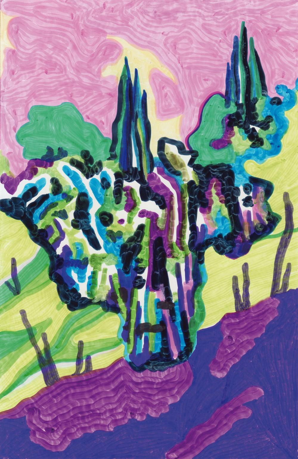 Les arbres Sans-titre, 2017. Feutre sur papier. 15 x 22,7 cm