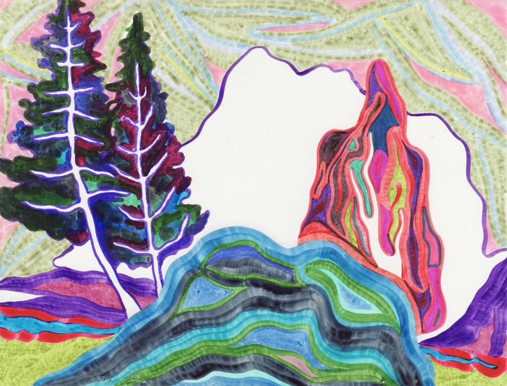 Horizontal Sans-titre, 2017. Feutre sur papier. 20,5 x 14,9 cm