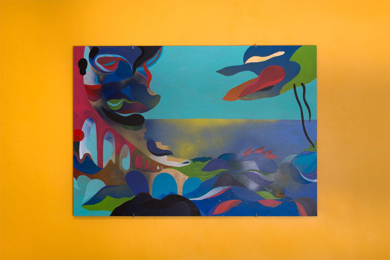 Marseille L'Estaque. Peinture sur bois. 2018. Vue d'exposition (Double V Gallery, Marseille).