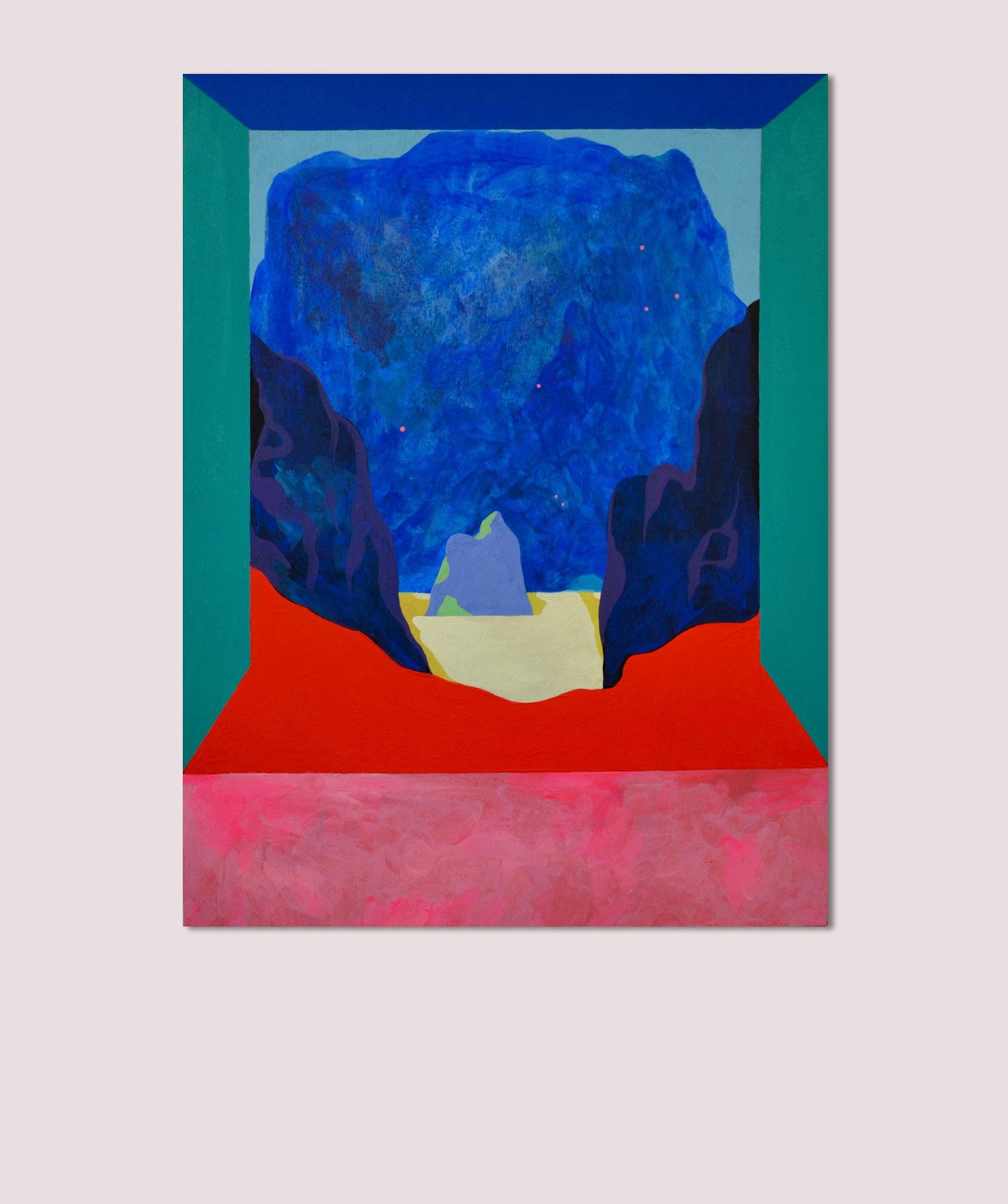 Marseille If. Peinture sur bois. 2017. Vue d'exposition (Double V Gallery, Marseille).