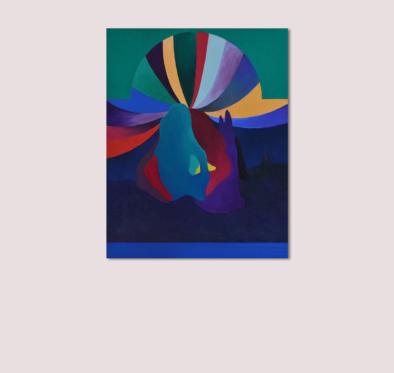 Marseille Le cirque. Peinture sur bois. 2018. Vue d'exposition (Double V Gallery, Marseille).