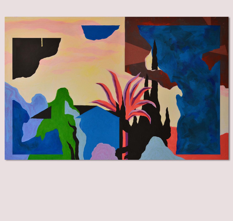 Marseille Palmier. Peinture sur toile. 2016. Vue d'exposition (Galerie M, Toulouse).