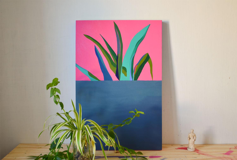 Marseille Plante pour Thomas. Peinture sur bois. 2017. Vue d'atelier.