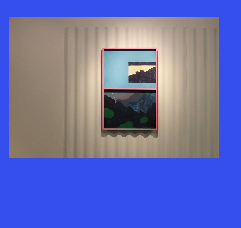 Marseille French Riviera. Peinture sur bois. 2017. Vue d'exposition. (Poc, Marseille).