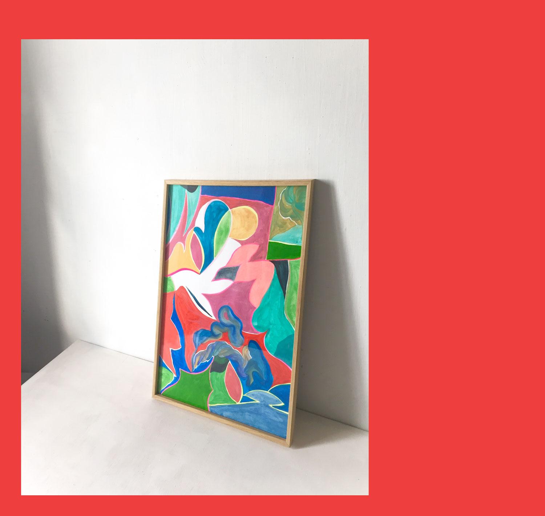 Marseille La baie des singes. Peinture sur bois. 2017. Vue d'atelier.