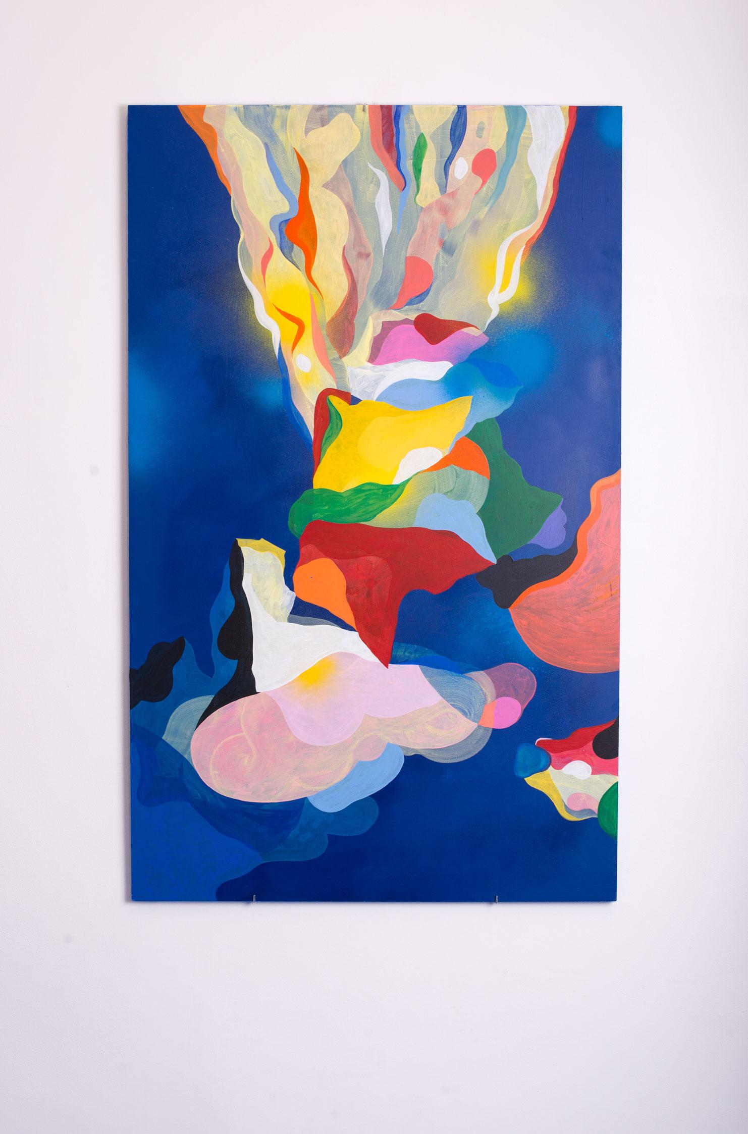 Marseille Youpi le Volcan. Peinture sur bois. 2018. Vue d'exposition (Double V Gallery, Marseille).